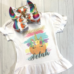 Pumpkin Patch Unicorn Fall Fun bow & Shirt Combo!  Perfect for All your Fall Functions + Great for Photoshoots