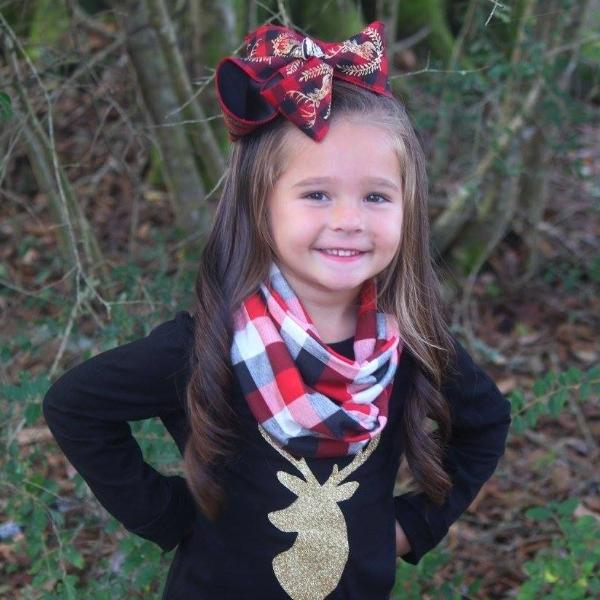 Kids Fun tee shirt & Matching hair bow | Deer Sparkled in Gold Glitter | Black + Red Plaid Deer Hairbow | Shirt  & bow Combo or Purchase separate