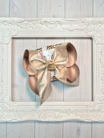 Christmas Or New Years Sparkle Light Gold hair bow ~ New & Limited Quantities