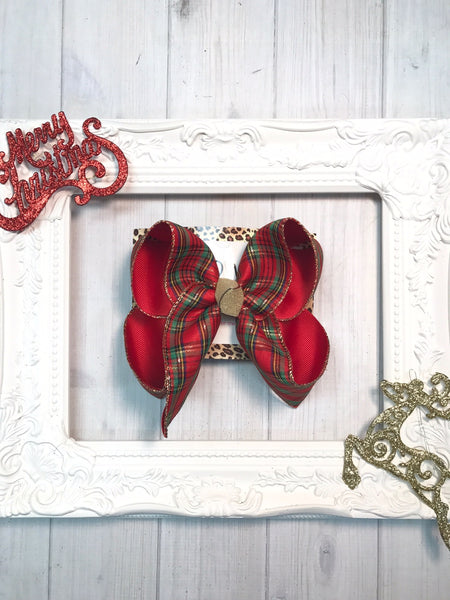 Christmas New Releases ~Plaid Christmas hairbow