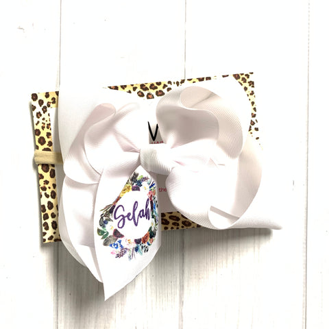 BOW ONLY ~Floral Wreath Single Layer bow ~ Name or Monogram iBOWZ  ~  Perfect All your Fall Get-togethers + Great for Photoshoots