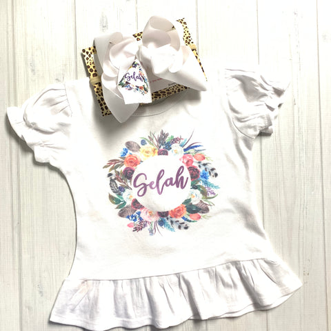Single Layer bow Combo ~Floral Wreath Name or Monogram SINGLE LAYER  iBOWZ  & Ruffle Tee Set !  Perfect All your Fall Get-togethers + Great for Photoshoots