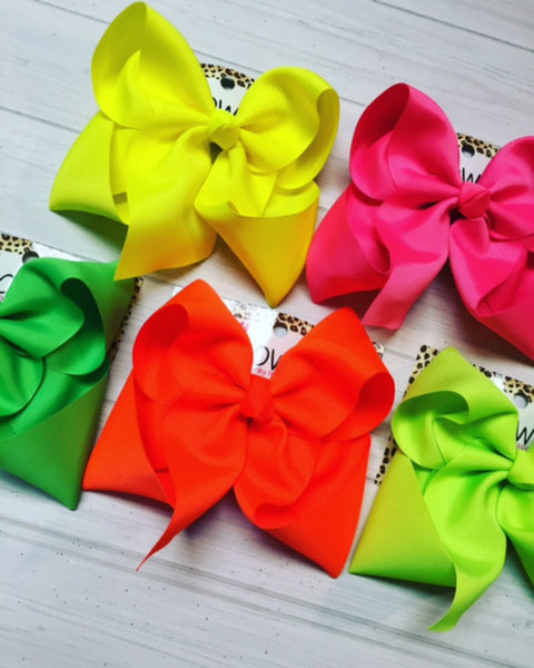 NEON Colors & Waterproof iBOWZ | Solid Grosgrain hair-bows |5 bow Bundle Pack