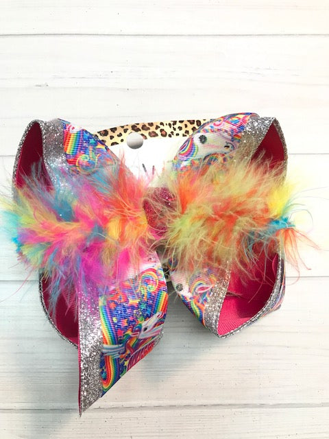 Lisa Frank Unicorn Fun ibowz + Silver Glitter + multi feather boa  hair bow