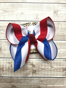 Red + White + Blue Stripe Patriotic Fun Bow  ~ Limited Time Collection