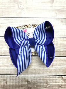 Royal Blue Stripe Summer Fun bow~ Limited Time Collection