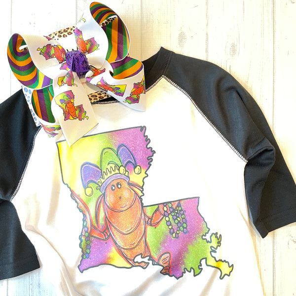 Mardi Gras Louisiana Crawfish Fun Hairbow & Matching Tee ~ Childs Tee & Bow