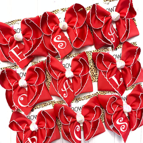 Monogram  iBOWZ- Red bow w/ white Moon-stitch &  Initial ~ choose your bow size