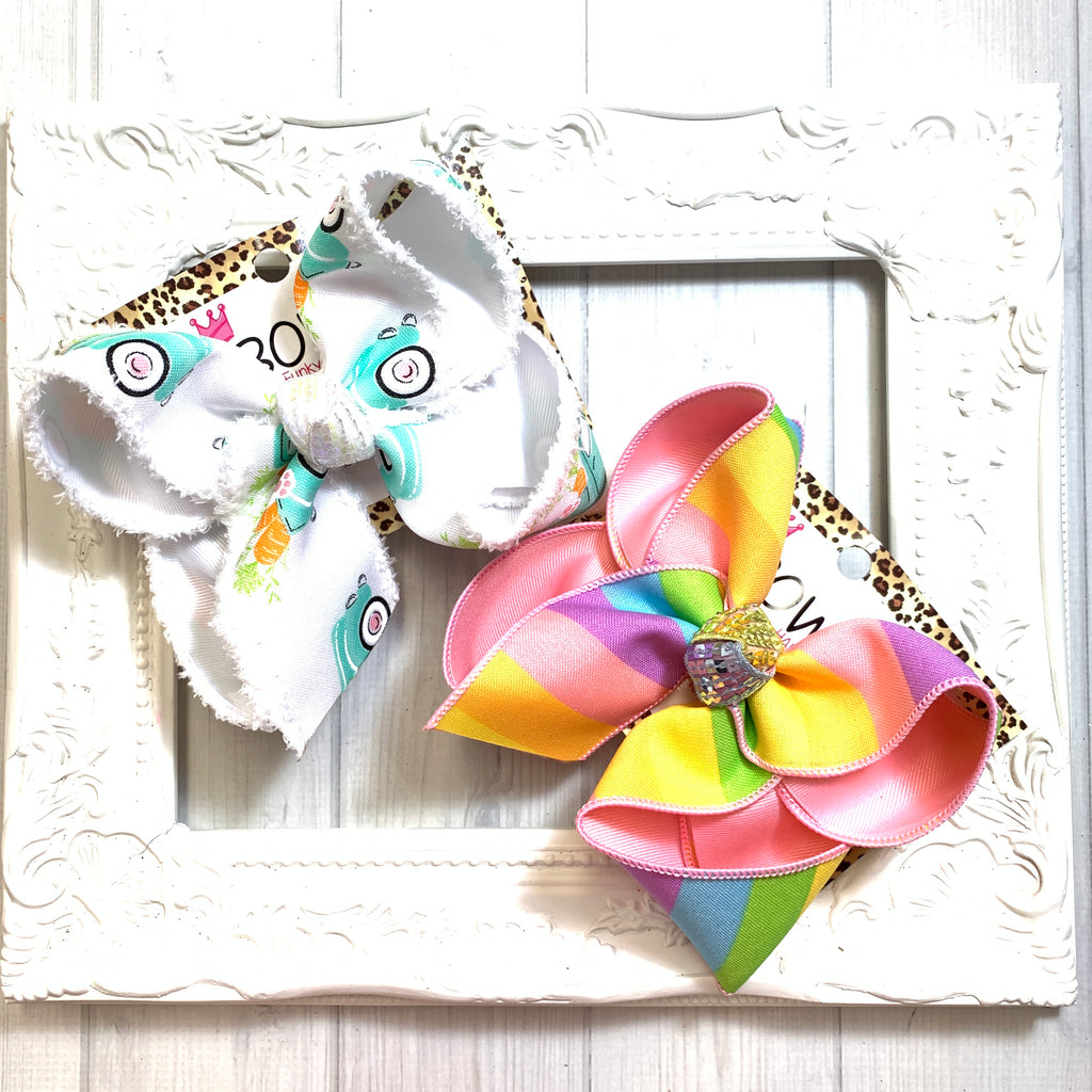 BUNDLE ~ Pastel Stripe & EASTER BUNNY VINTAGE TRUCK Fun Bow ~ Spring & Summer Hairbow by iBOWZ