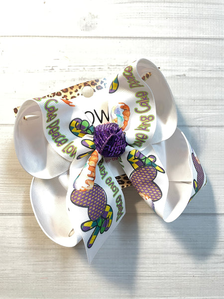Mardi Gras  ~ PEACE LOVE & KING CAKE ~  Fun Hairbow & Matching Tee Combo ~ Exclusively Sold @ iBOWZ