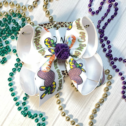 Peace Love & King Cake Fun Bow Only~ BOW ONLY ~ Exclusive iBOWZ designs