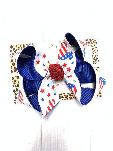 MICKEY MOUSE RWB, STARS, ANCHORS | Red White & Blue Fun iBOWZ | CHOOSE YOUR BOW|  iBOWZ Fun & Funky Hairbows