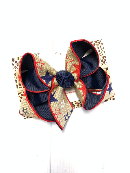 BUNDLE ~ MICKEY MOUSE RWB, STARS, ANCHORS | Red White & Blue Fun iBOWZ | CHOOSE YOUR BOW|  iBOWZ Fun & Funky Hairbows