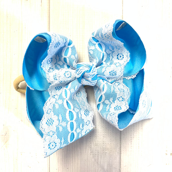 Spring & Easter Lace bows ~ Choose your bow color~  iBOWZ Fun & Funky Hairbow