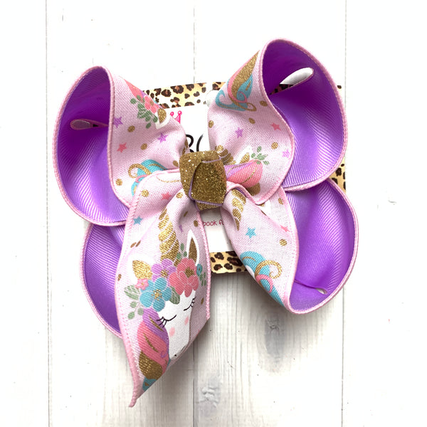Magical Unicorn Fun bow Pink & Lavendar Color ~ Sparkle Thursday Release
