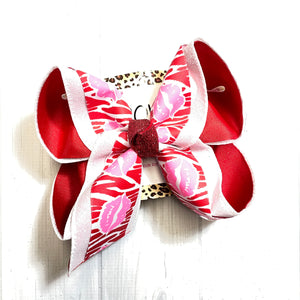 Valentines Day Kiss Lips & Zebra Fun Print Triple Layer   | Valentines day Fun Hairbow | Cupid ~ Love ~ February 14th hairbow