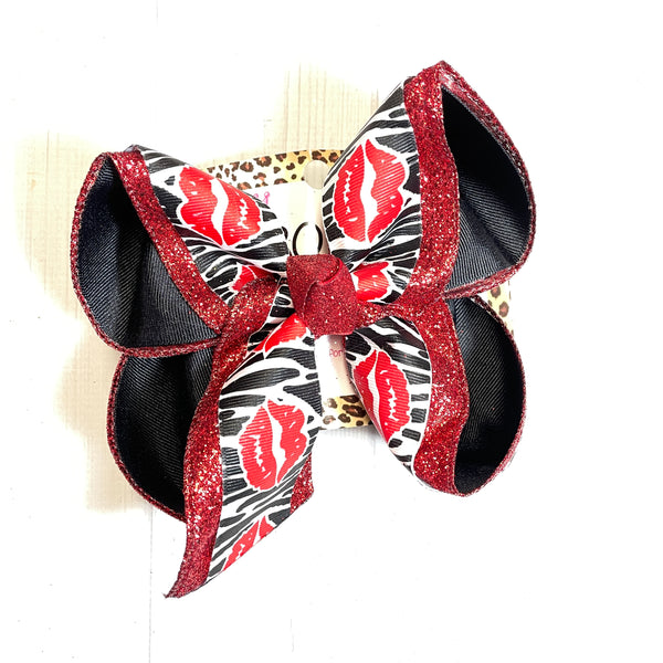 Kiss Lips & Zebra ~Valentines Day Fun Print Triple Layer   | Valentines day Fun Hairbow | Cupid ~ Love ~ February 14th hairbow