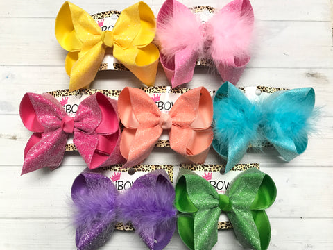 BUNDLE ALL 7  & SAVE LOTS! | Frosted Glitter Fun Bows | Spring Colors Perfect for Spring & Easter & Summer!