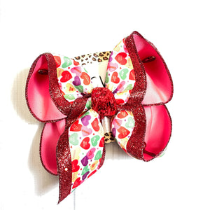 Conversation Hearts ~Valentines Day Fun Print Triple Layer   | Valentines day Fun Hairbow | Cupid ~ Love ~ February 14th hairbow