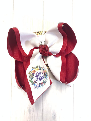 BOW ONLY ~Floral Wreath DOUBLE ayer bow ~ Name or Monogram iBOWZ  ~  Perfect All your Fall Get-togethers + Great for Photoshoots