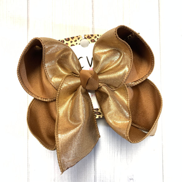 Fall Metallic Silk Dupioni ~Choose your Bow Color ~ Copper, Mustard& Coffee ~ Perfect Fall bows