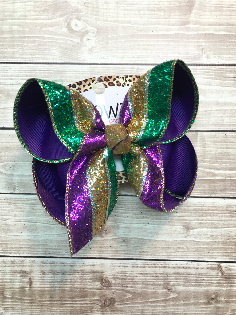 Mardi Gras Faux Glitter Stripes | Mardi Gras Fun Hairbow | Purple + Emerald + Gold