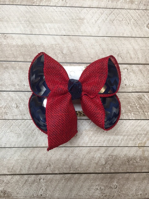 Football | Olemiss | Go Rebels | Red Burlap on Navy blue with Silver Metallic polka dots |New Limited hair-bow