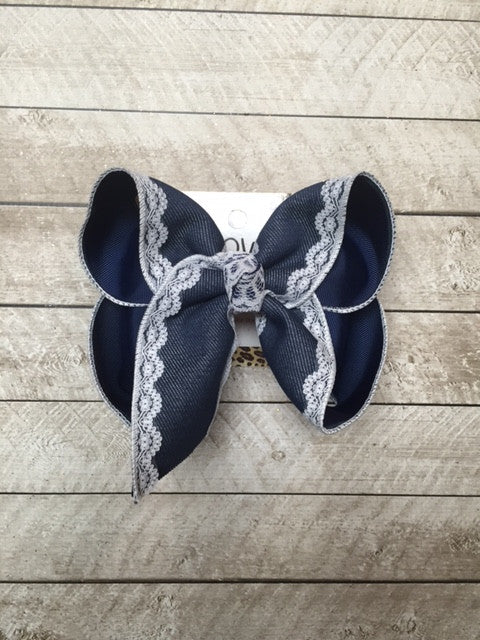 Denim + Lace | New Limited Hair-bow  Design | choose your own color combo
