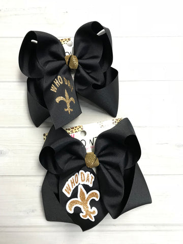 Who Dat Saints Football Hairbow | Black and Gold | Football team Spirt | iBOWZ
