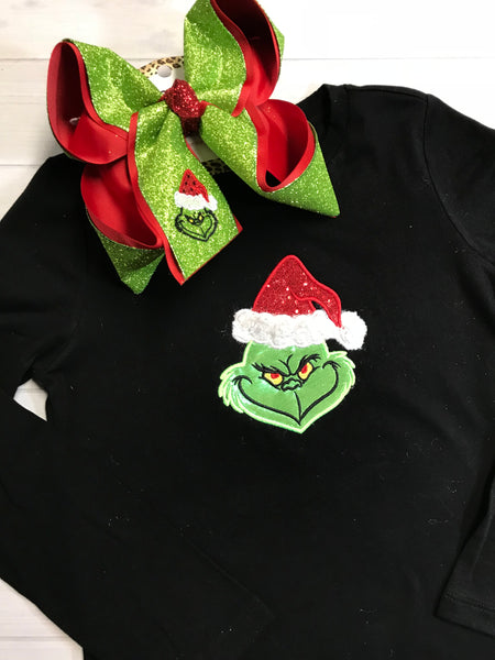 SURPRISE DROP ~ BLACK FRIDAY SPECIAL ~ THE GRINCH ~ SHIRT & BOW COMBO ~ BLACK LONG SLEEVE