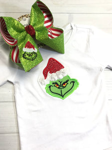 SURPRISE DROP BLACK FRIDAY ~ READY 2 SHIP ~ THE GRINCH ~ SHIRT & BOW COMBO ~ WHITE LONG SLEEVE