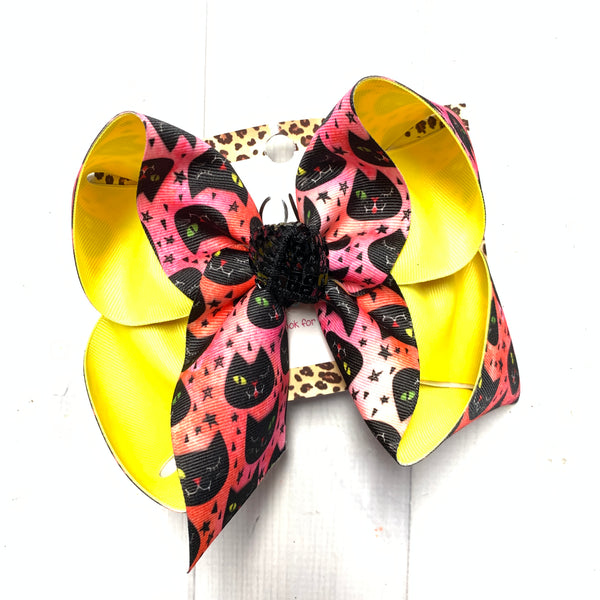 New Vintage Black Cat halloween Fun bow ~ Sparkle Thursday Release