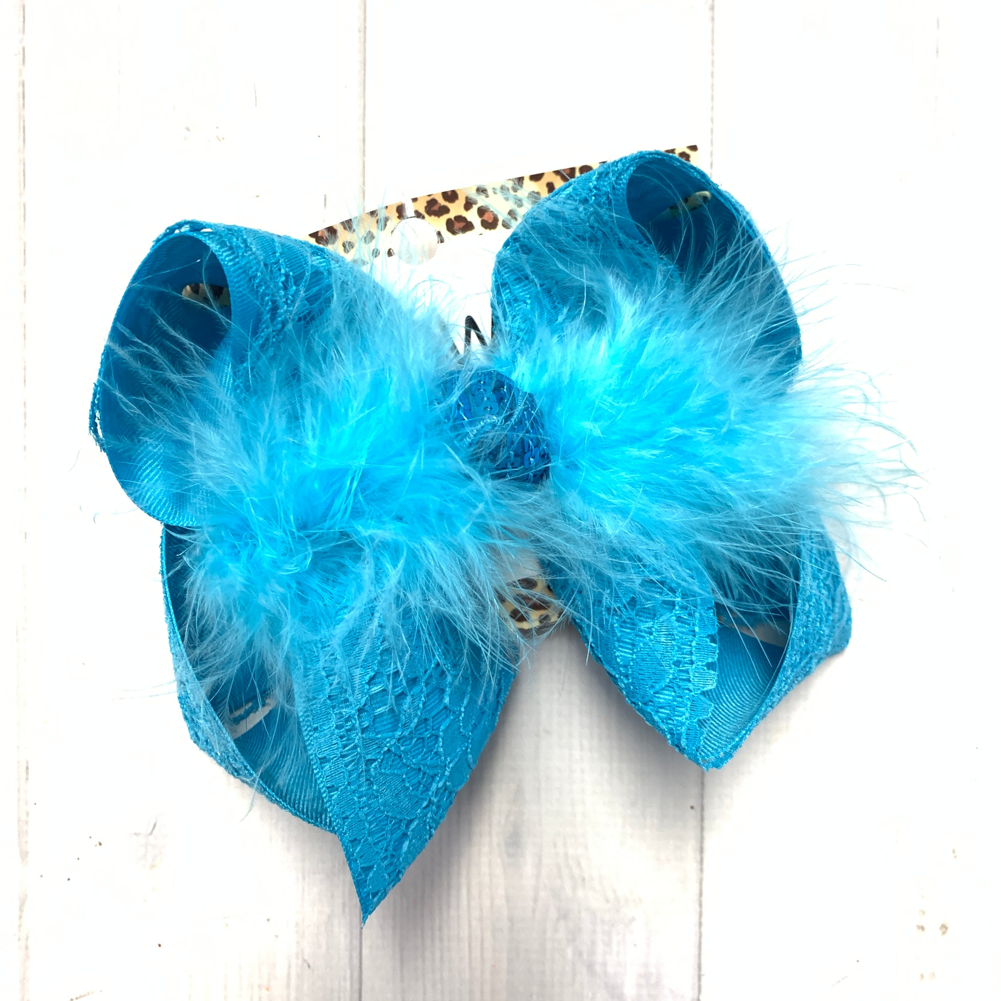 New Limited Lace Ribbon in Solid colors ~ Mystic Blue Lace hairbow ~ by iBOWZ