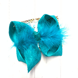 New Limited Lace Ribbon in Solid colors ~ Blue Lagoon Lace hairbow ~ by iBOWZ
