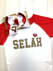 Personalized Leopard Varsity Fun Combo ~ Bow + Tee ~ One of a Kind Fun iBOWZ ~  Limited Time Only