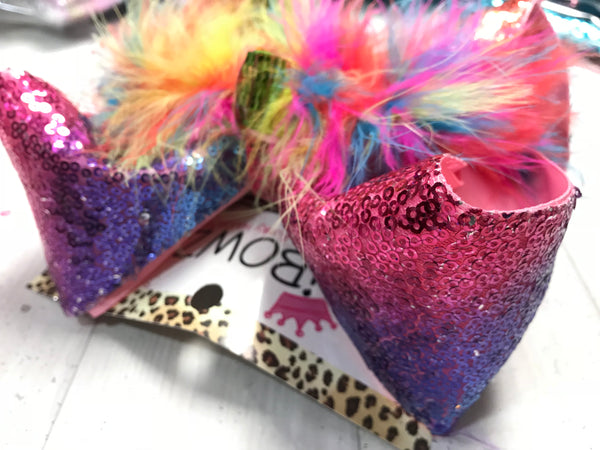 RTS Rainbow & PURPLE  Sequin Fun Bow | XLG BOW ONLY  | Jojo Siwa inspired bows | iBOWZ Fun & Funky Hairbows