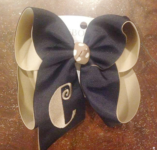MONOGRAM INITIAL DOUBLE LAYER HAIR BOW~ CHOOSE YOUR COLOR COMBO