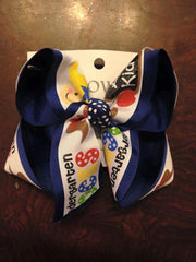 Kindergarden rocks~ preschool rocks~ glitter fun printed school bow on any solid color!