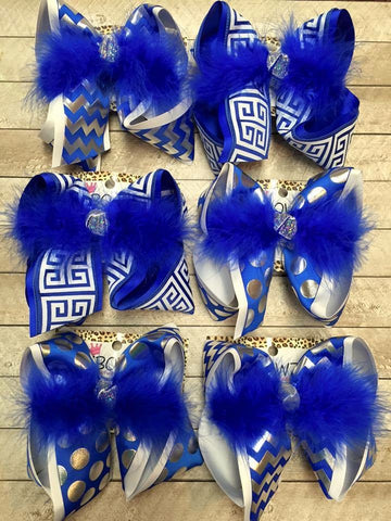 School bows in Royal /White & Silver Colors