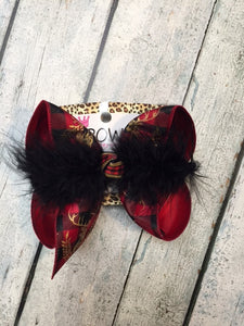 Buffalo Plaid Deer iBOWZ | Black + Red Plaid Deer Hairbow
