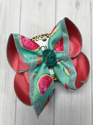 Watercolor Watermelons ~ Summer and Fall Fun Hairbows ~ Mint glitter | Watermelon