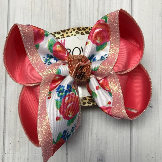 New Floral Flowers Fun Triple Layer Hairbows | Coral , Royal blue accent colors | Coral Glitter | Sparkle