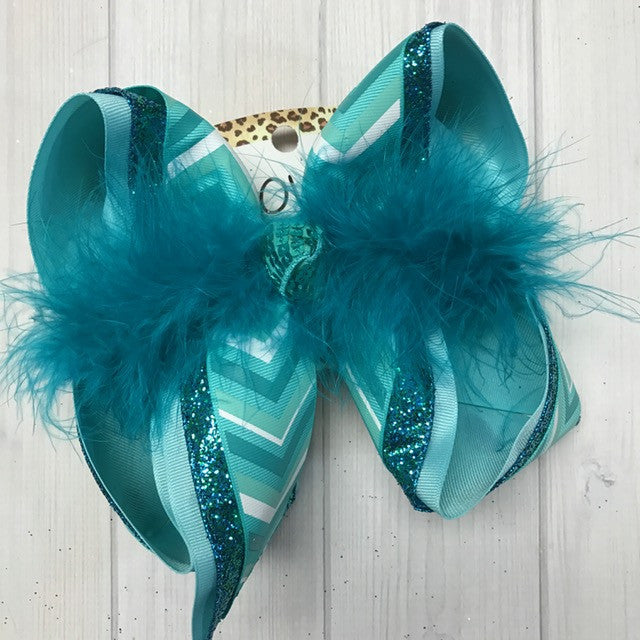 New Chevron Turquoise print hair bow | Glitter & sparkle | iBOWZ fun & Funky hairbows | girl bows