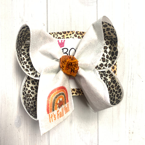 ITS' FALL YALL! Rainbow Fun print BOW ONLY ~ Exclusive iBOWZ designs ~ rainbow babies