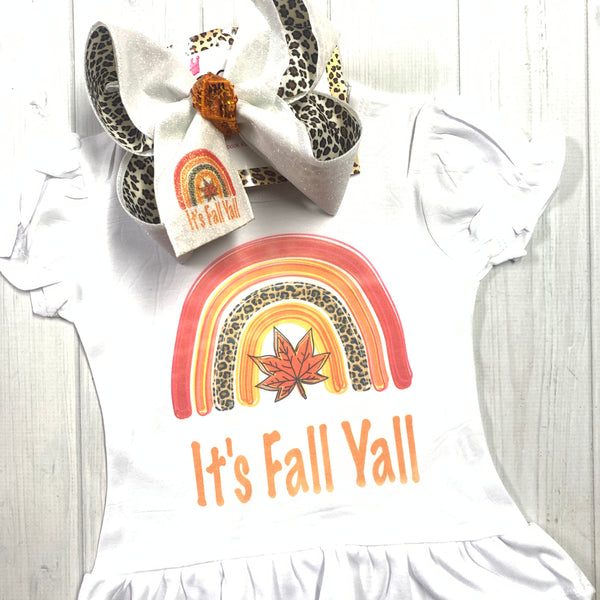 ITS' FALL YALL! Rainbow fall print ~ Bow + Ruffle Tee Shirt Combo ~ Exclusive iBOWZ design
