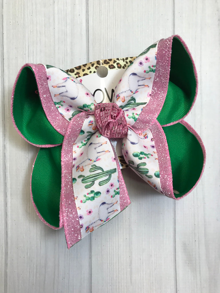 New Limited Release ~ Lama & Cactus Layered on Frosted Pink Glitter  Fun Hairbow~  iBOWZ