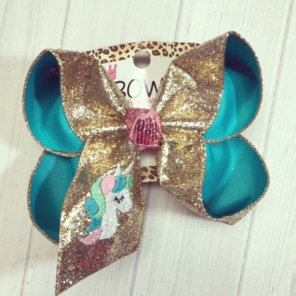 Pastel Unicorn Monogram Fun bow | Gold Glitter & Blue Lagoon | Monogram pastel Unicorn | The perfect Combo