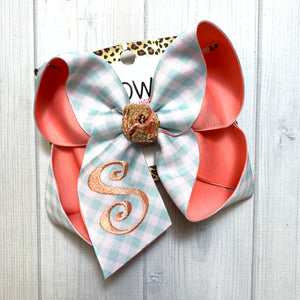 Gingham Plaid Aqua & Coral Fun Monogram bow ~ iBOWZ