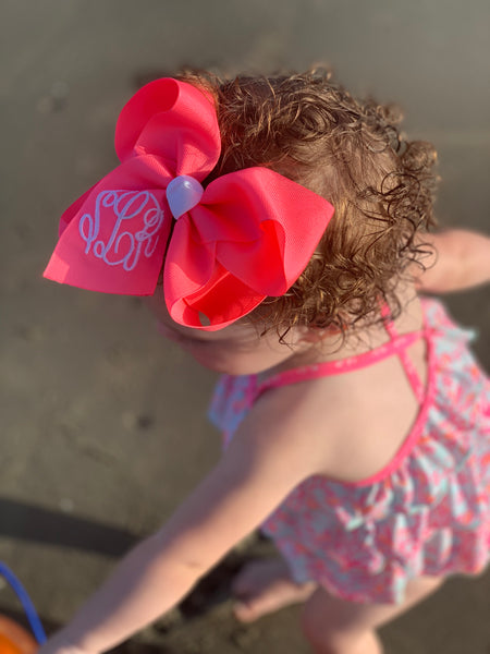 Neon Bows with Triple initial Monogram Oh MY! Choose your bow ~Perfect Spring + Summer + Pool Bows~  Hairbows