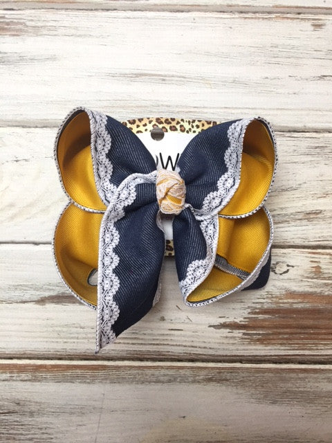 Lace + Denim + Mustard New Limited Hairbow